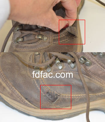 Hiker with Tailor's Bunion with hiking boot trim removed over painful area.
